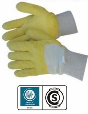 Guante de Latex Rugoso Amarillo Puño de elástico y dorso ventilado